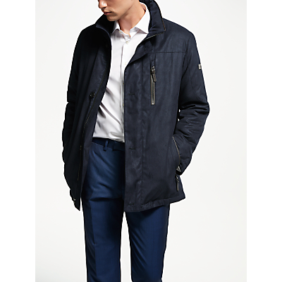 Image of Bugatti Microma Quilted Overcoat, Blue