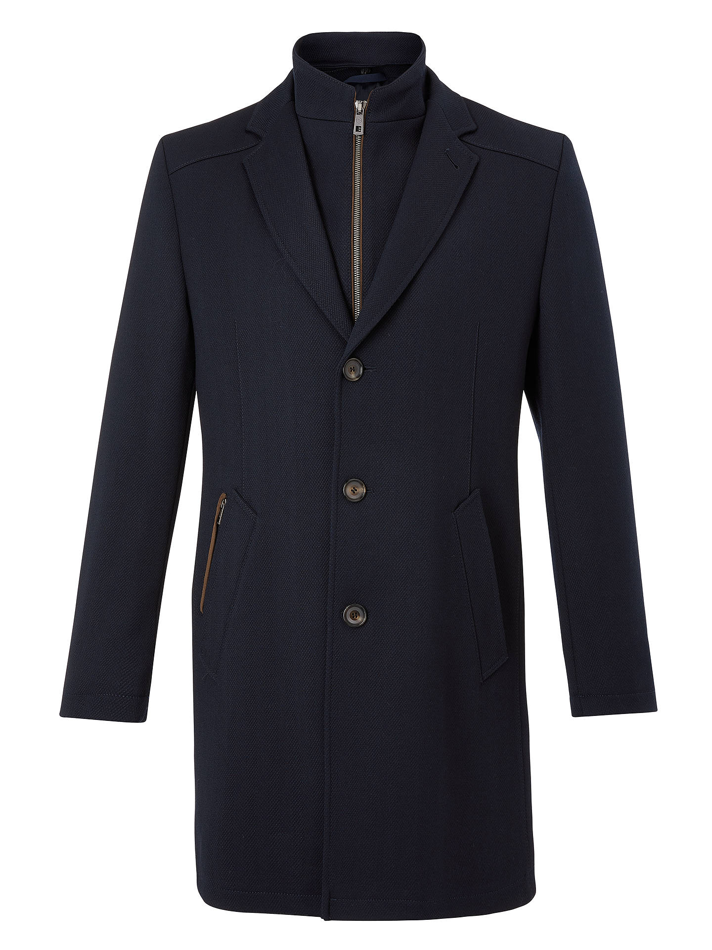 BuyBugatti Flex City Wool Blend Coat, Blue, 44R Online at johnlewis.com