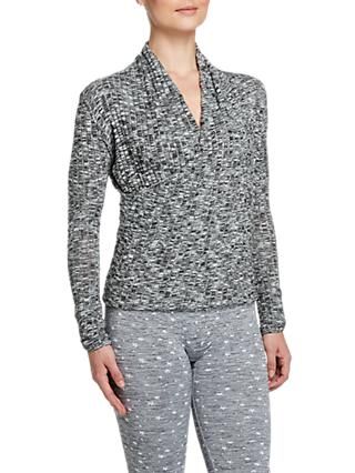 Pepper & Mayne Grace Wrap Long Sleeve Top, Grey Marl