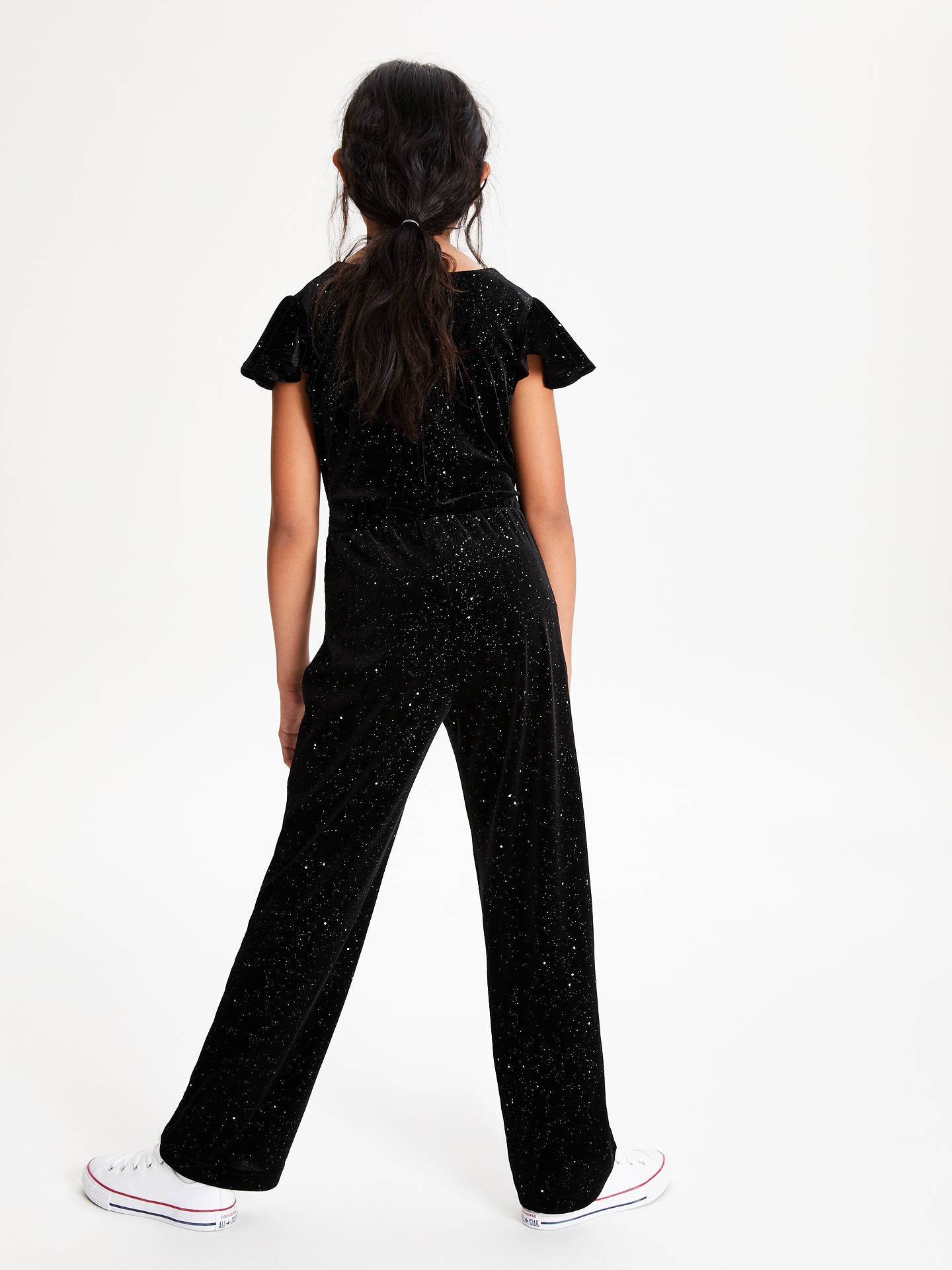 Buy John Lewis & Partners Girls' Velour Sparkle Jumpsuit, Black, 11 years Online at johnlewis.com