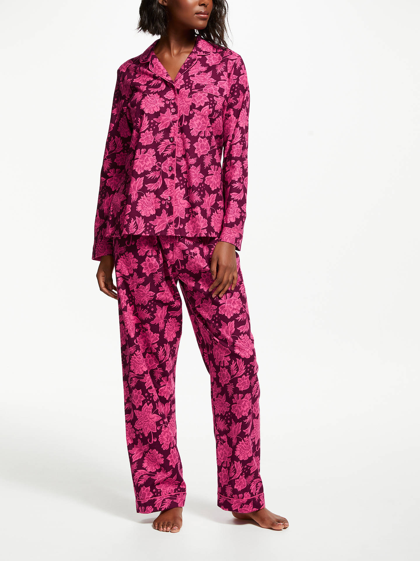 BuyJohn Lewis & Partners Gemma Floral Print Cotton Pyjama Set, Pink/Multi, 8 Online at johnlewis.com