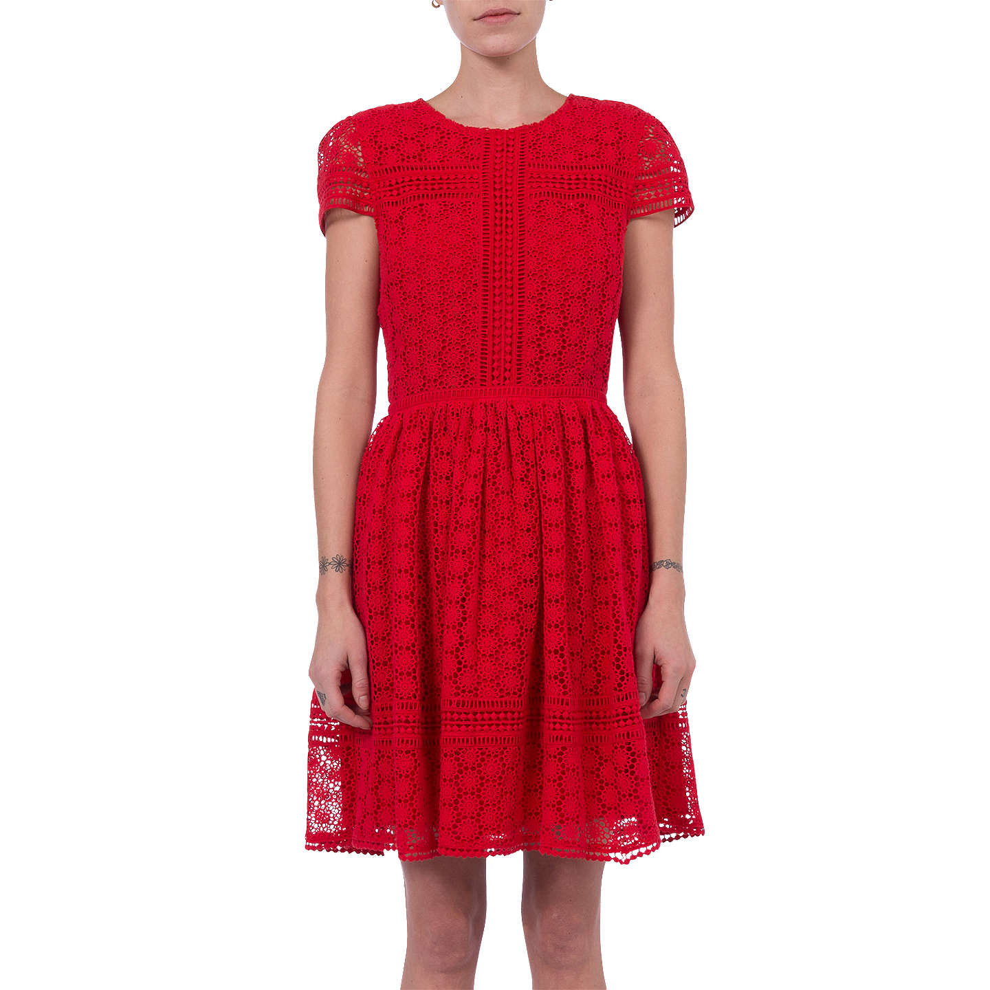 French Connection Parker Lace Dress, Shanghai Red at John Lewis
