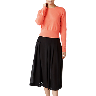 Pure Collection Cropped Cashmere Sweater, Vivid Coral