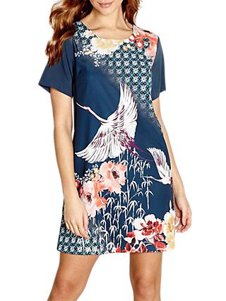 Yumi Bird Print Shift Dress, Teal/Multi