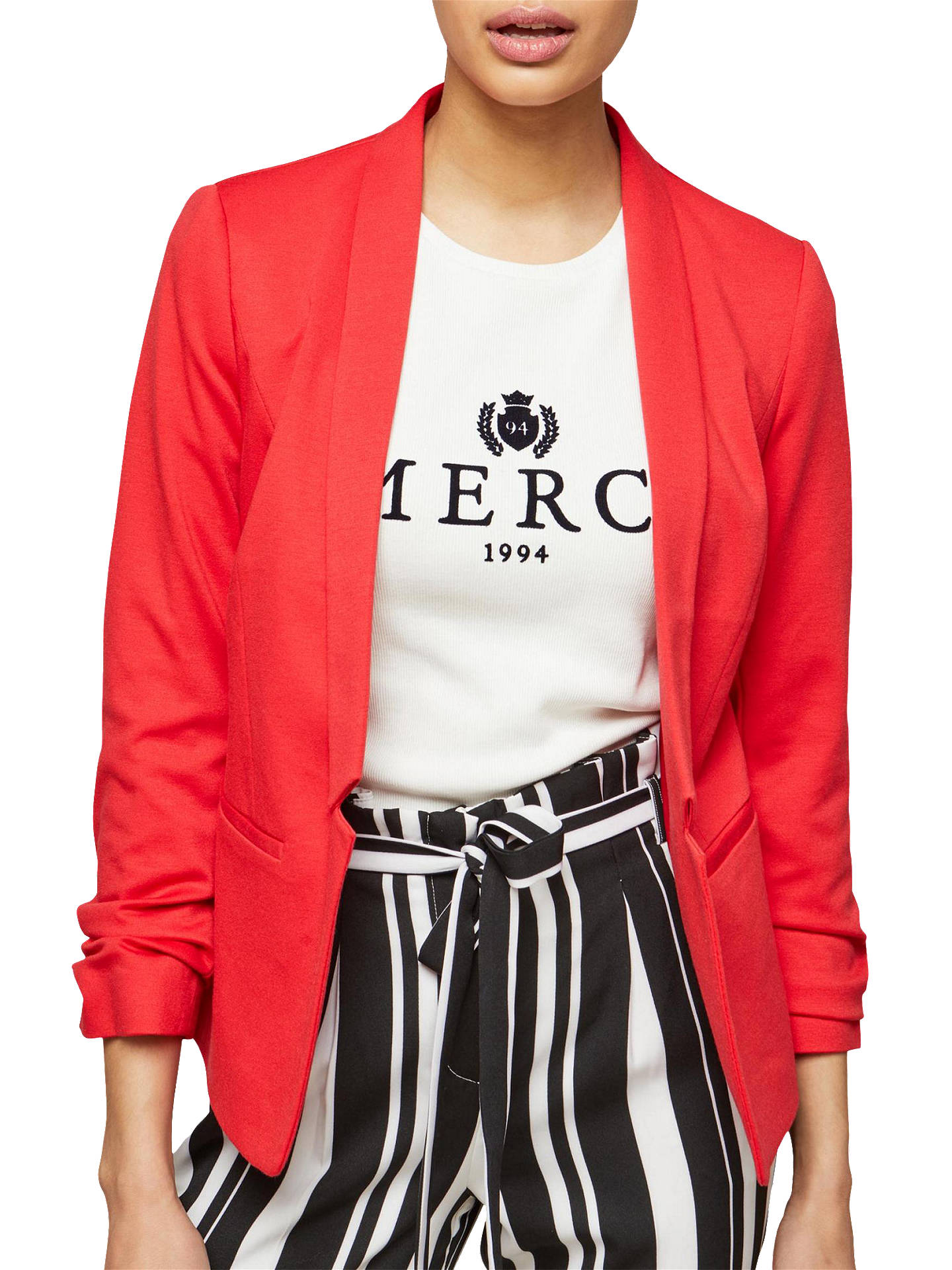 ce5ad92f23751 Buy Miss Selfridge Petite Ruched Sleeve Ponte Jacket, Red, 6 Online at  johnlewis.