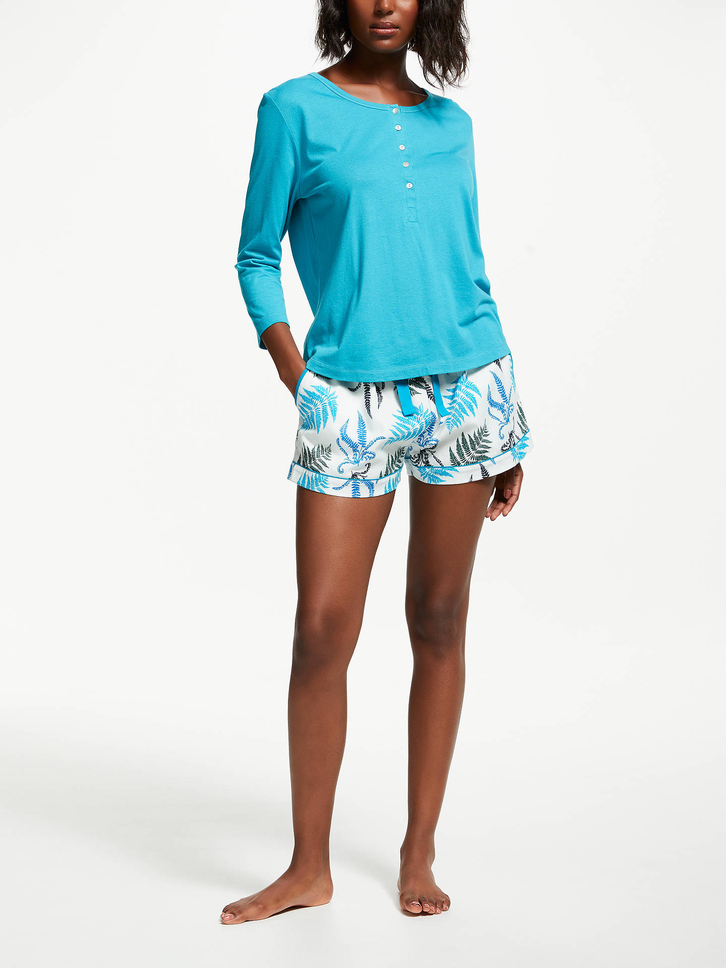 Buy John Lewis & Partners Fearne Pyjama Shorts, Blue/White, 8 Online at johnlewis.com