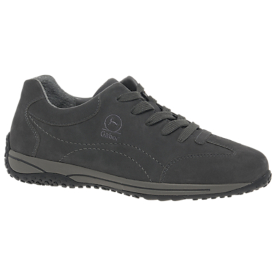 Gabor Geno Wide Fit Lace Up Trainers, Grey Nubuck