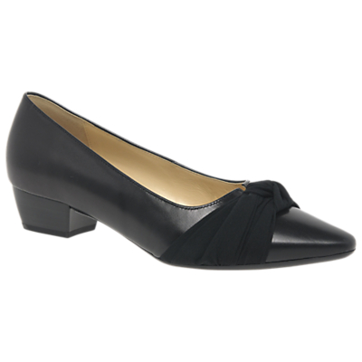 Gabor Fifi Knotted Bow Court Shoes, Black Leather
