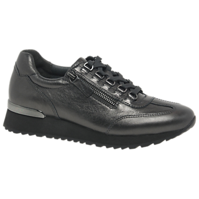 Gabor Keswick Wide Fit Lace Up Trainers, Pewter Leather