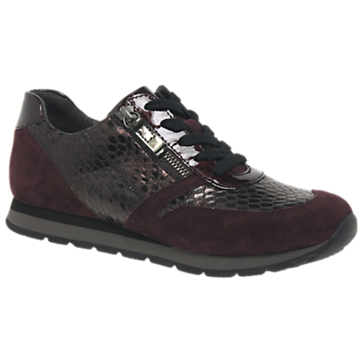 Gabor Hyacinth Wide Fit Lace Up Trainers, Red Leather