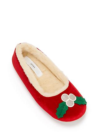 John Lewis & Partners Holly Velvet Ballet Slippers, Red