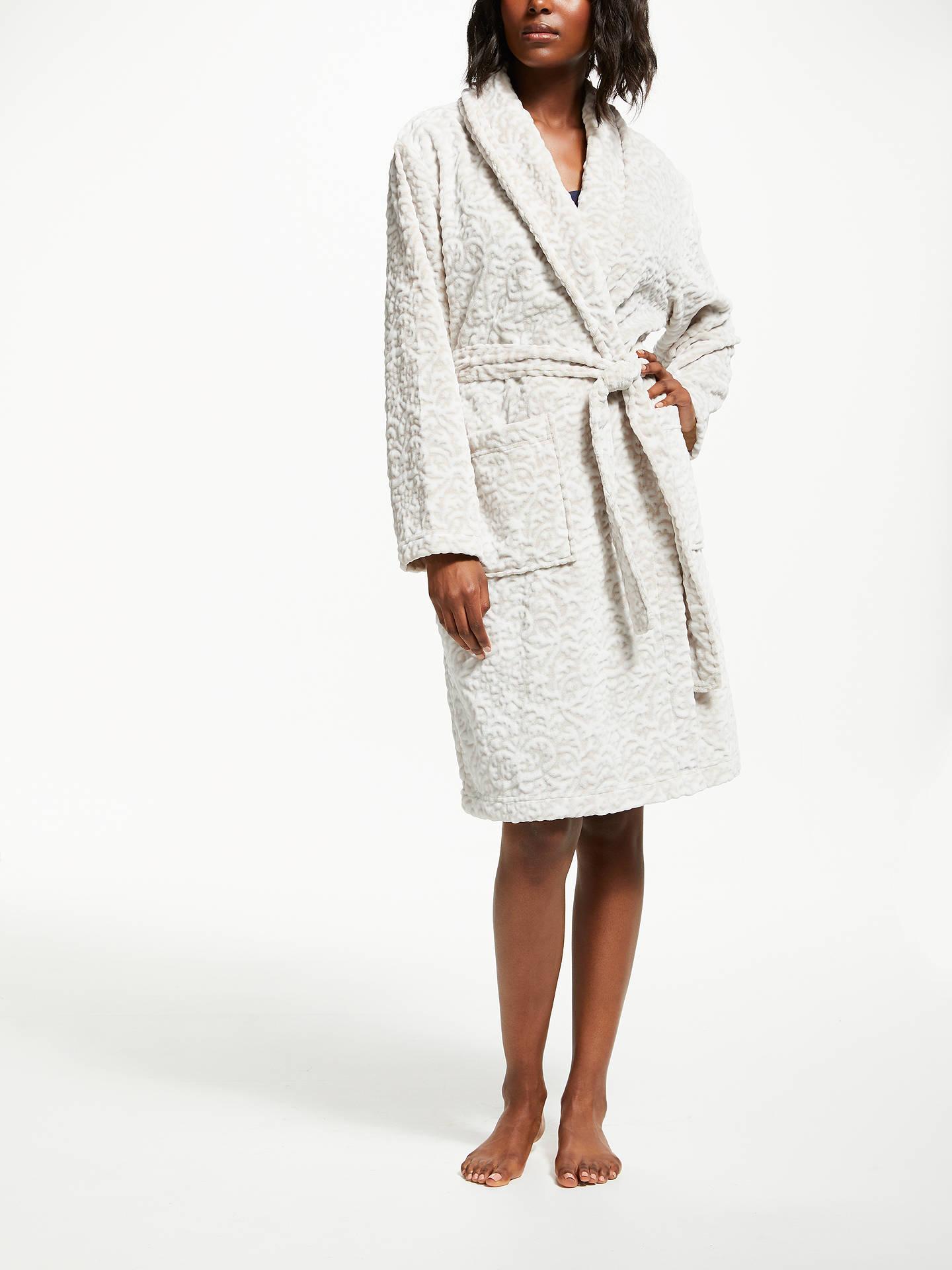 John Lewis & Partners Lyra Damask Embossed Dressing Gown, Grey at ...