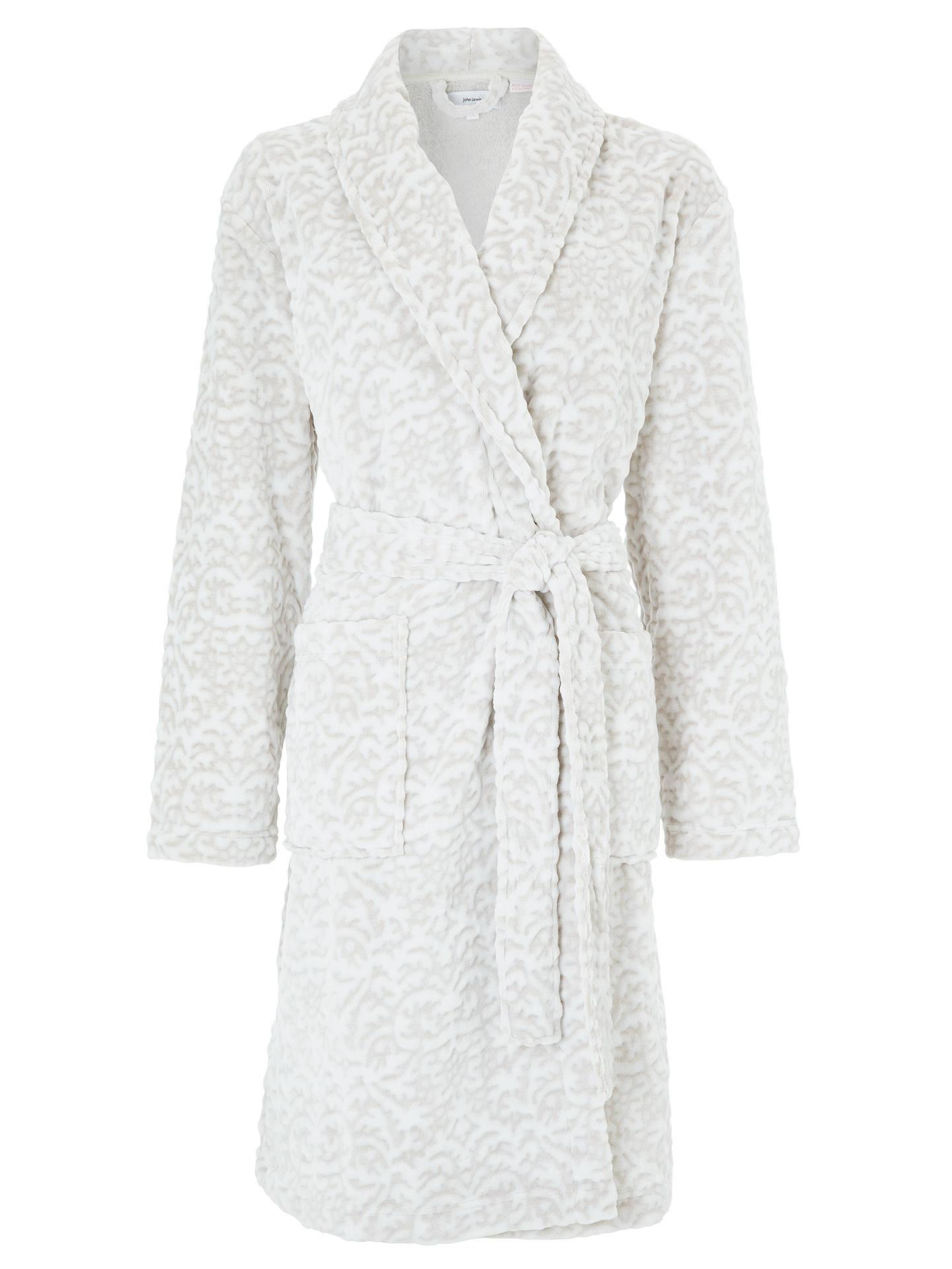 John Lewis Partners Lyra Damask Embossed Fleece Dressing Gown