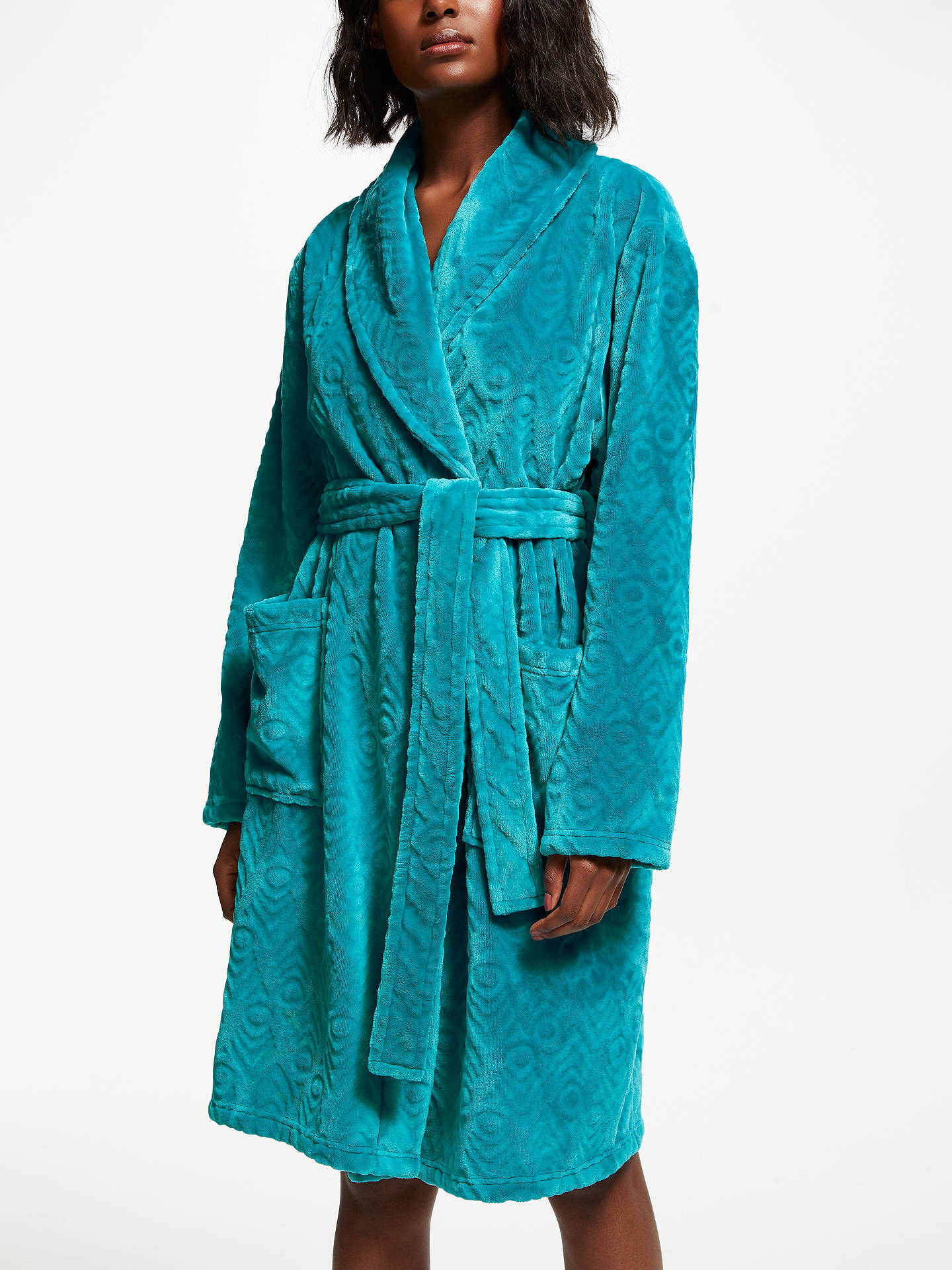 John Lewis Partners Talitha Peacock Embossed Fleece Dressing Gown