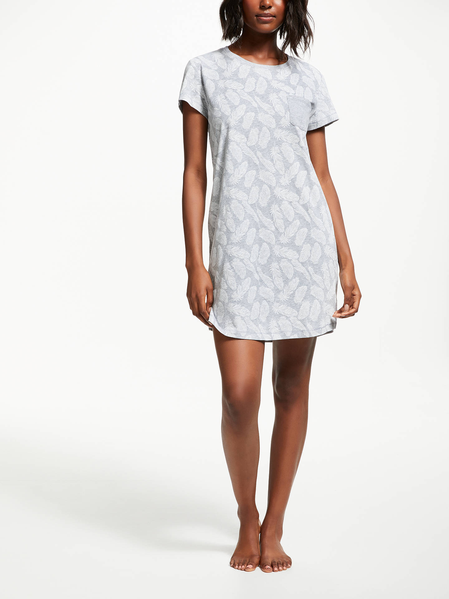 Buy John Lewis & Partners Fay Feather Cotton Nightdress, Grey/Ivory, 8 Online at johnlewis.com