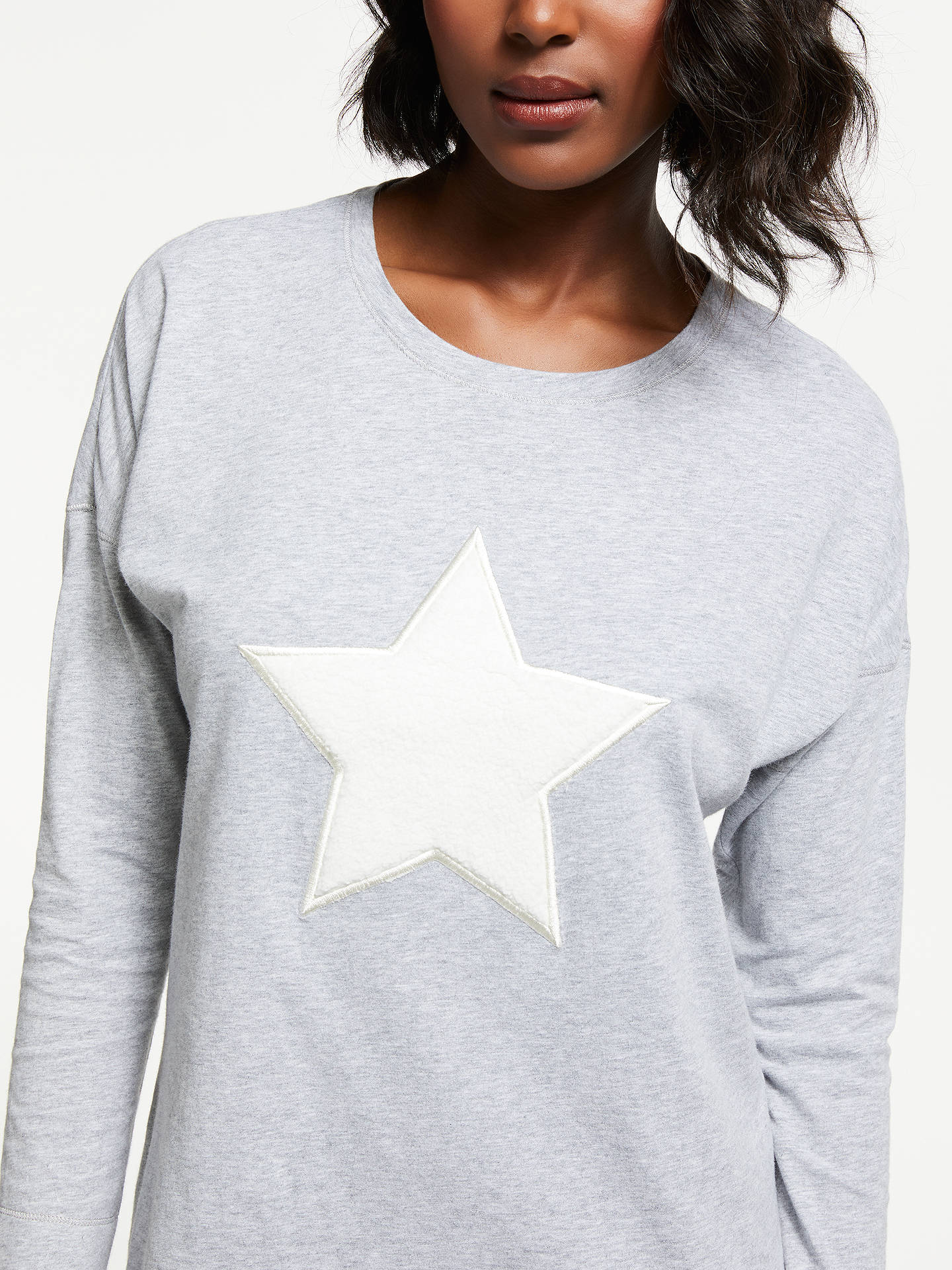 Buy John Lewis & Partners Furry Star Cotton Nightdress, Grey, 8 Online at johnlewis.com