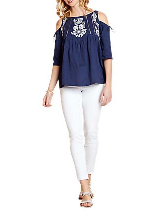 Yumi Floral Print Cold Shoulder Top, Navy