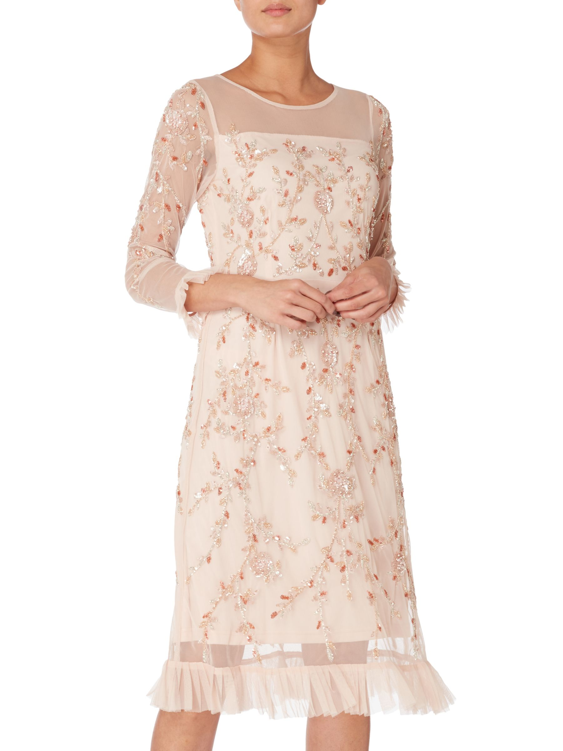 RAISHMA Raishma Floral Embellished Frill Dress, Blush