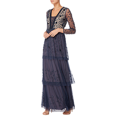 Raishma Embellished Tiered Gown, Navy
