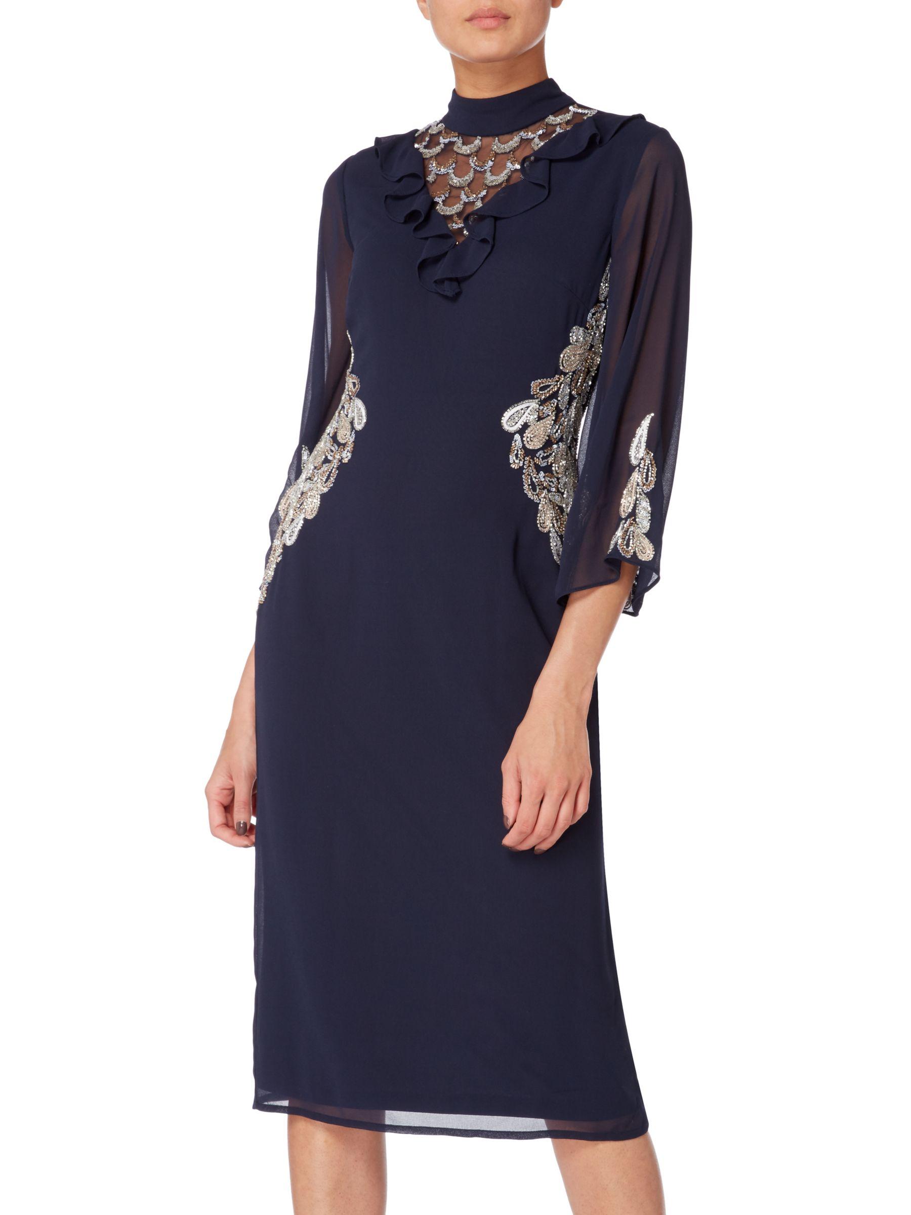 RAISHMA Raishma Embellished Frill Cocktail Dress