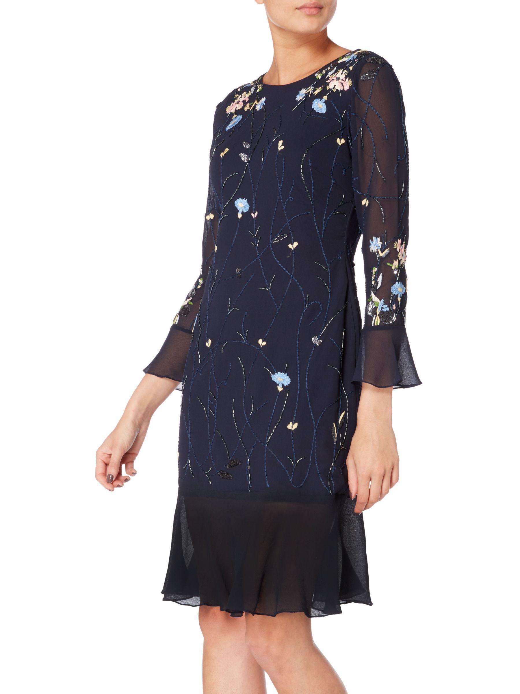 RAISHMA Raishma Embellished Floral Fluted Hem Dress, Navy