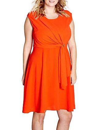 Yumi Curves Drape Eyelet Dress, Red