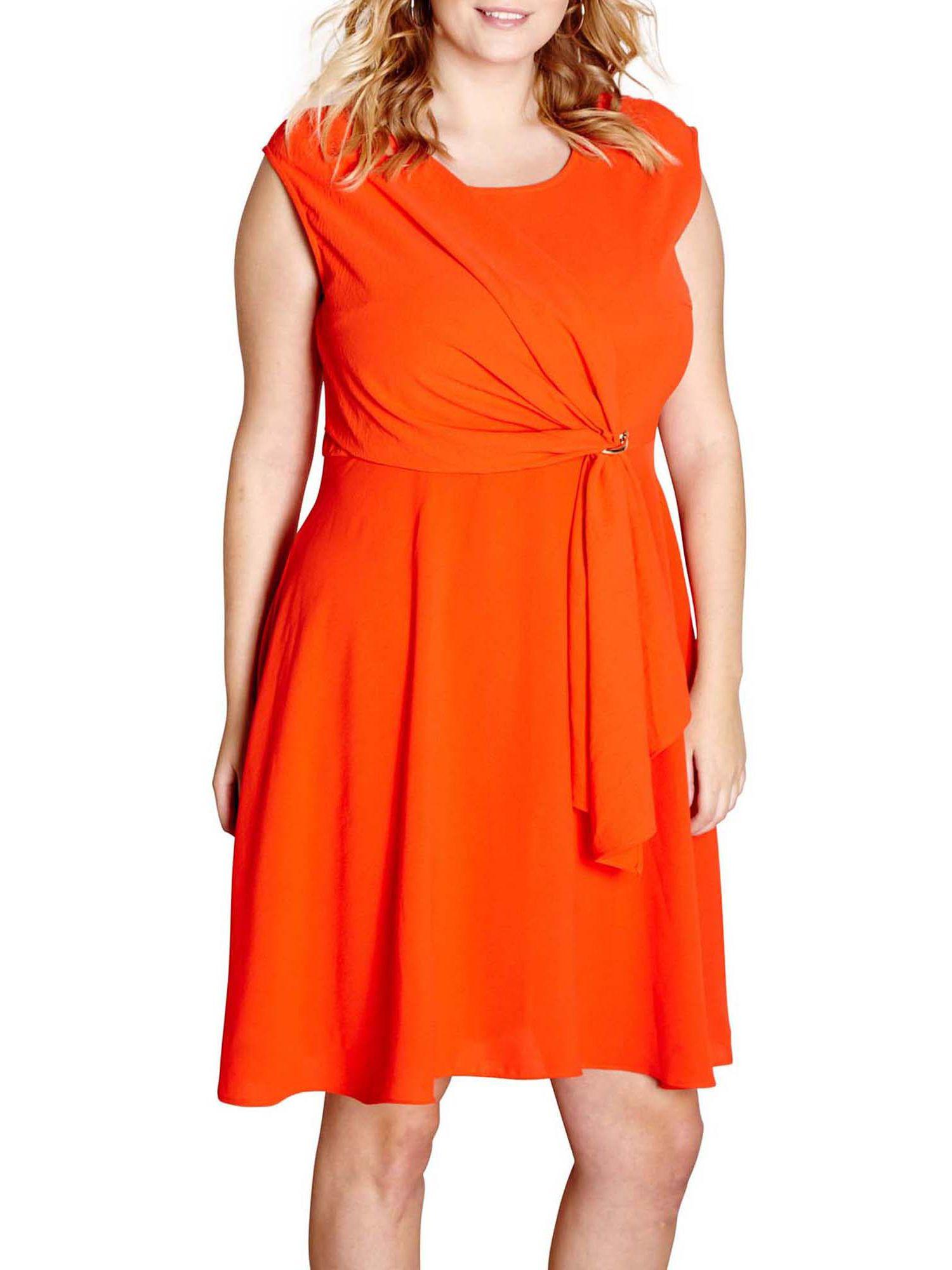 Yumi Curves Yumi Curves Drape Eyelet Dress, Red
