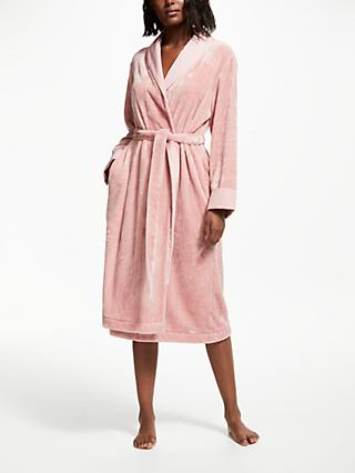 John Lewis & Partners Fleece Satin Trim Dressing Gown, Blush Pink