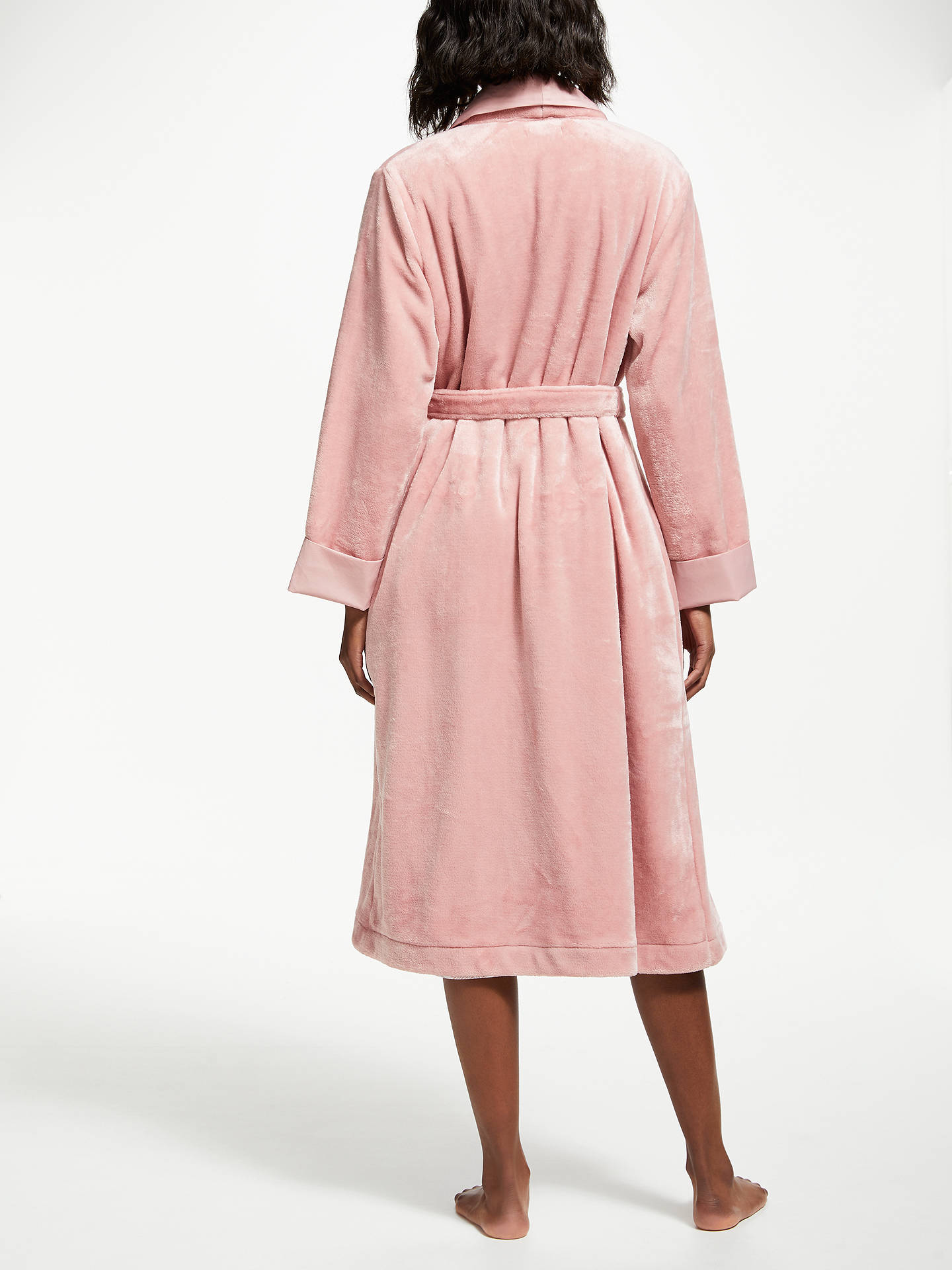 John Lewis Partners Fleece Satin Trim Dressing Gown Blush Pink At