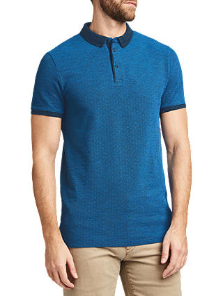 Buy BOSS Heathered Cotton Pique Polo Shirt, Bright Blue, M Online at johnlewis.com