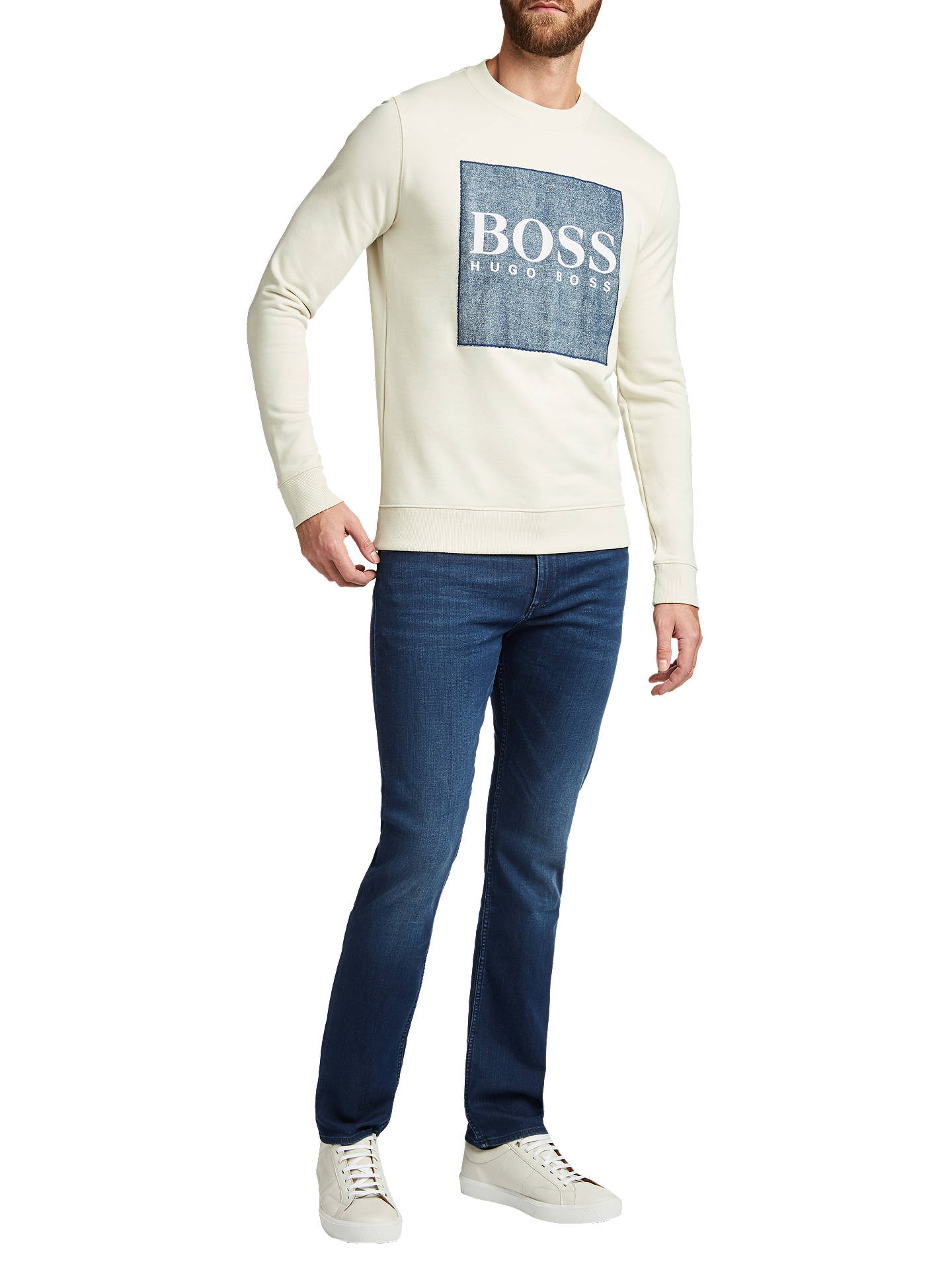 Buy BOSS Wedford Logo Print Sweatshirt, White, M Online at johnlewis.com