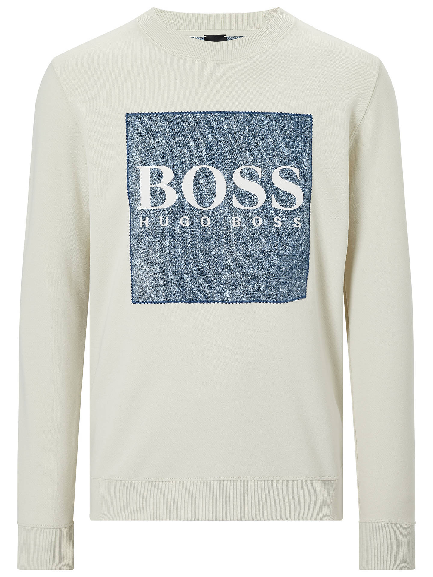 Buy BOSS Wedford Logo Print Sweatshirt, White, XXL Online at johnlewis.com