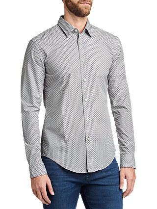 Buy BOSS Ronni Abstract Print Shirt, Open Grey, XL Online at johnlewis.com
