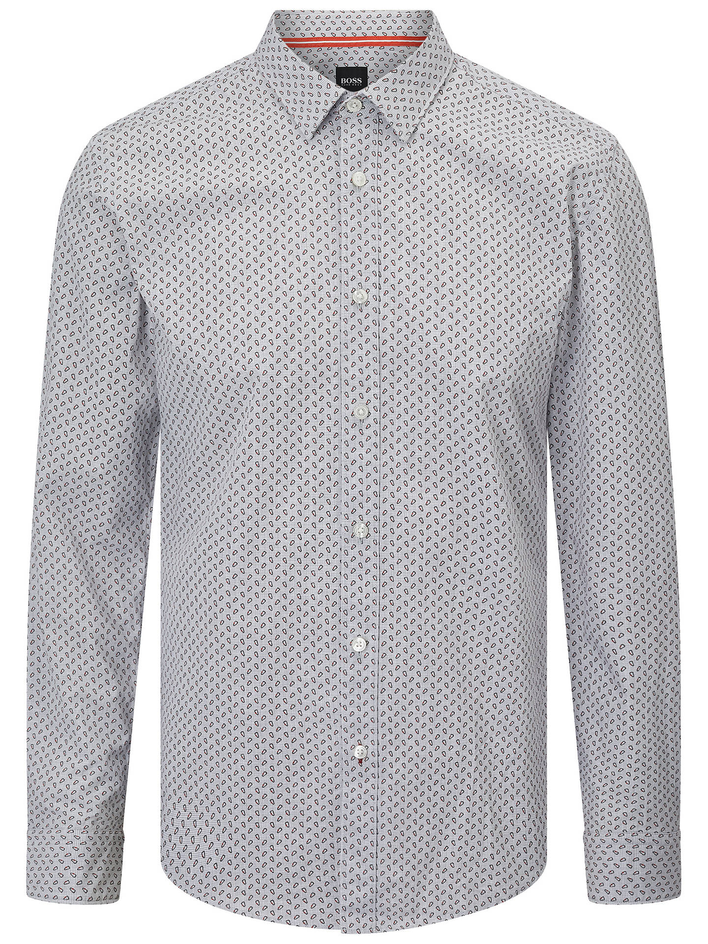 Buy BOSS Ronni Abstract Print Shirt, Open Grey, XXXL Online at johnlewis.com