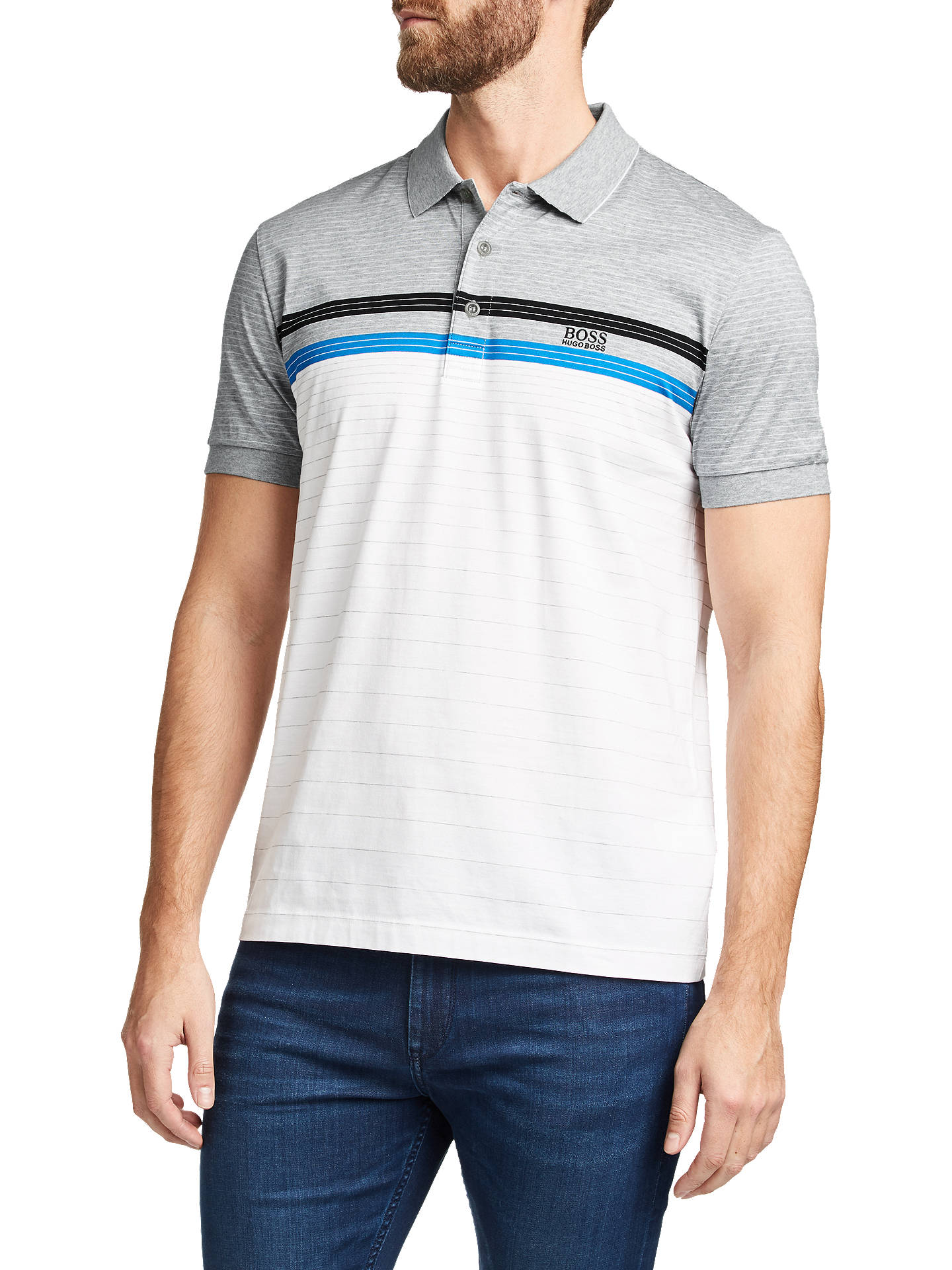 BuyBOSS Paddy Stripe Polo Shirt, White, S Online at johnlewis.com