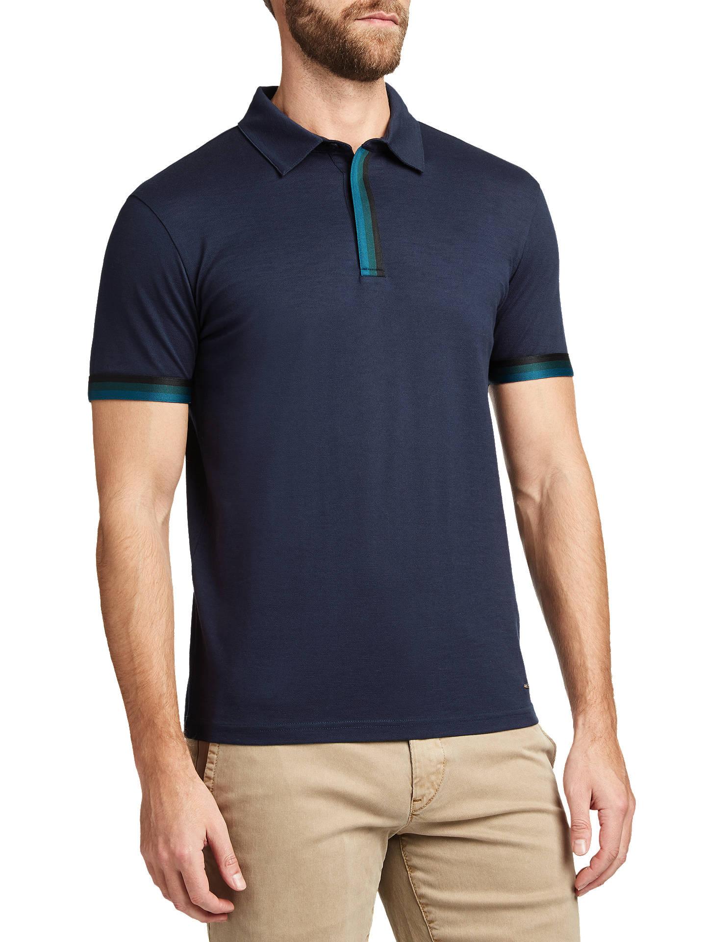 Boss Paxto Short Sleeve Polo Shirt Dark Blue At John Lewis Partners