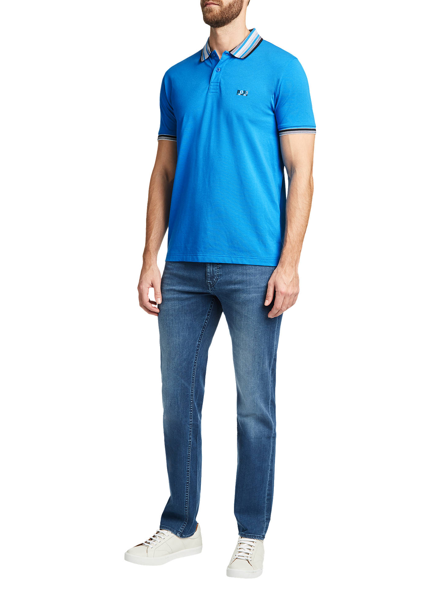 Buy BOSS Paddy Polo Shirt, Bright Blue, S Online at johnlewis.com