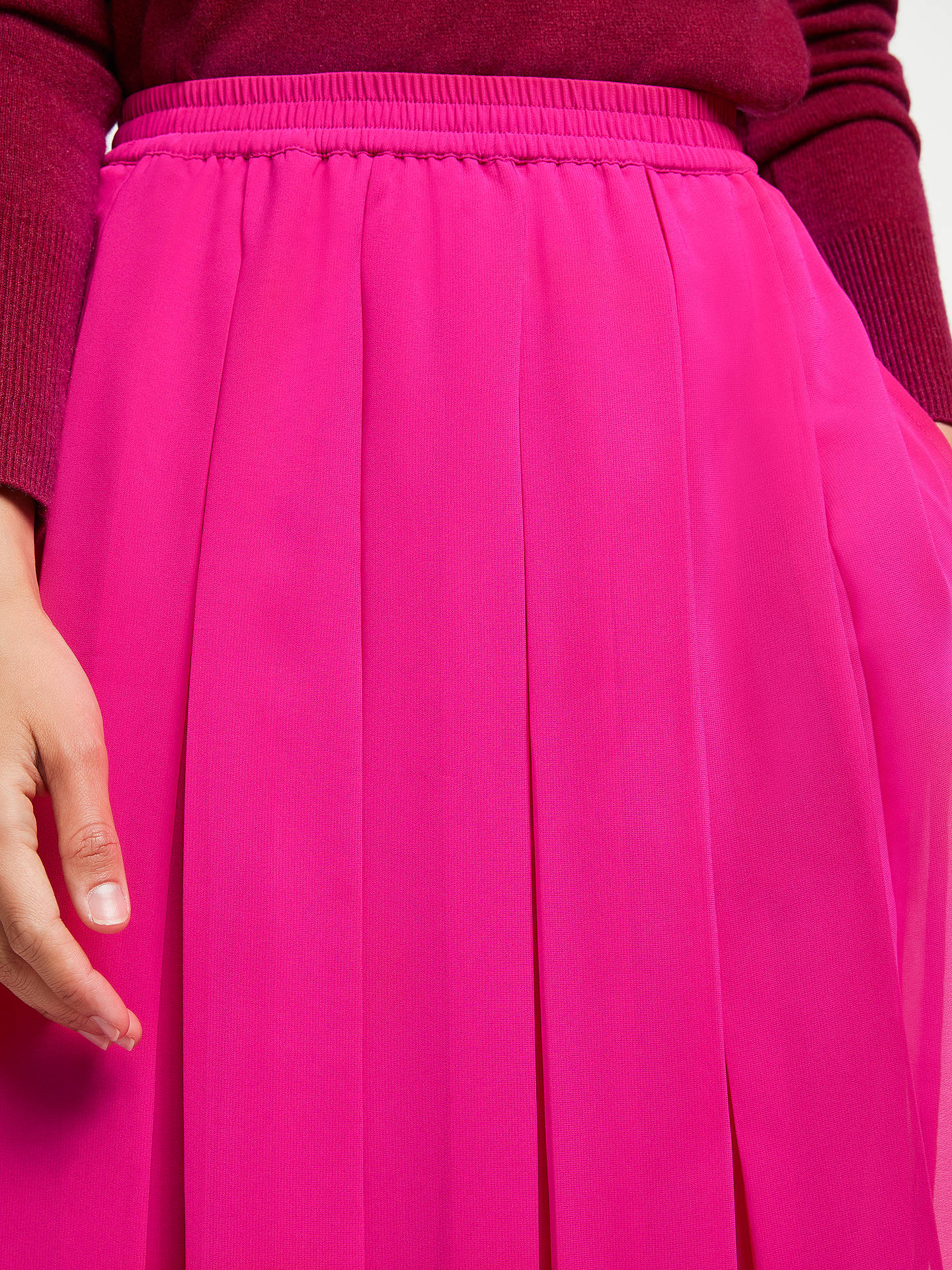 BuyJohn Lewis & Partners Box Pleat Pull On Skirt, Bright Pink, 8 Online at johnlewis.com