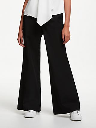 John Lewis & Partners Bi-Stretch Wide Leg Trousers, Black