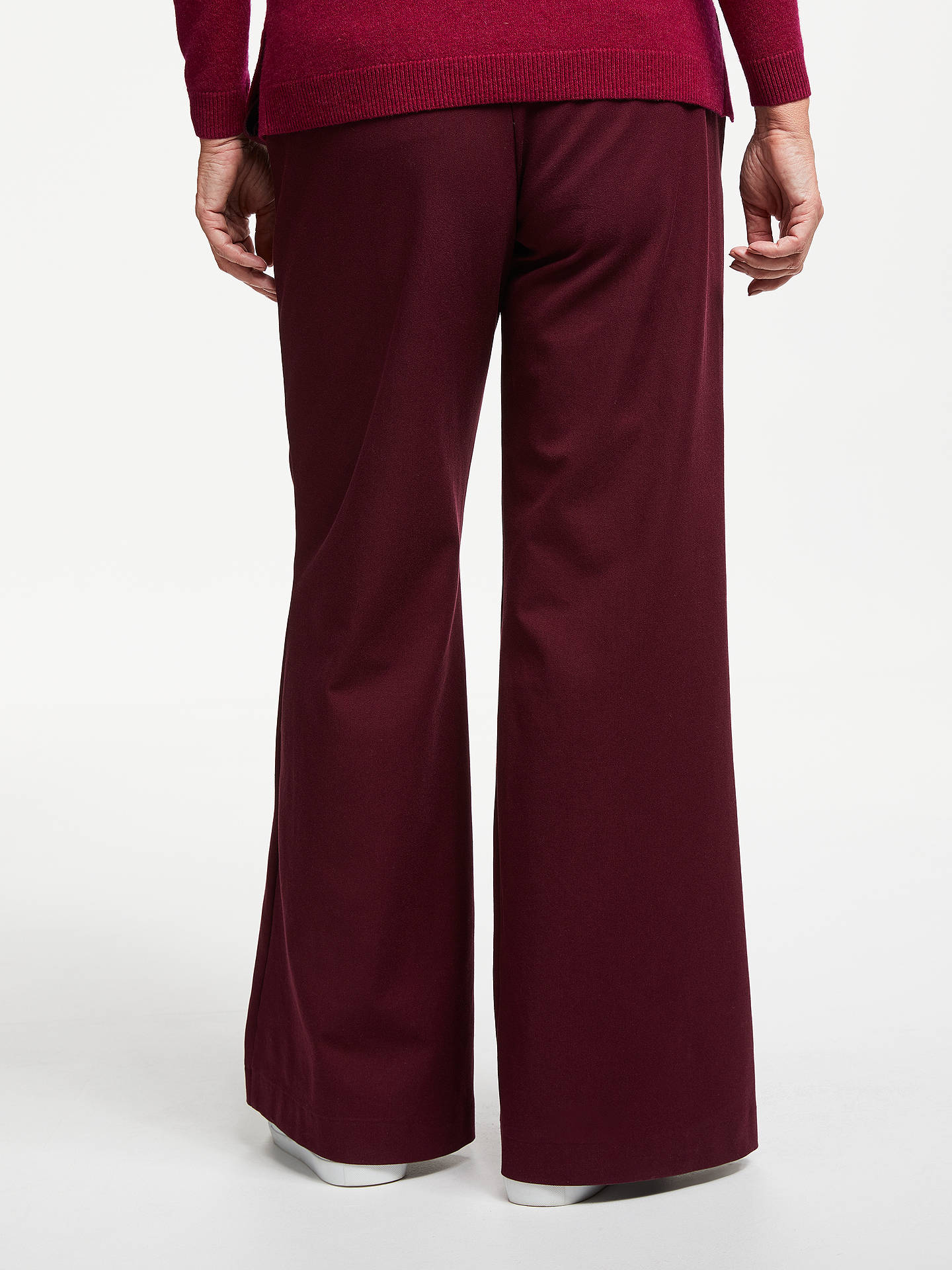 BuyJohn Lewis & Partners Bi-Stretch Wide Leg Trousers, Wine, 14 Online at johnlewis.com