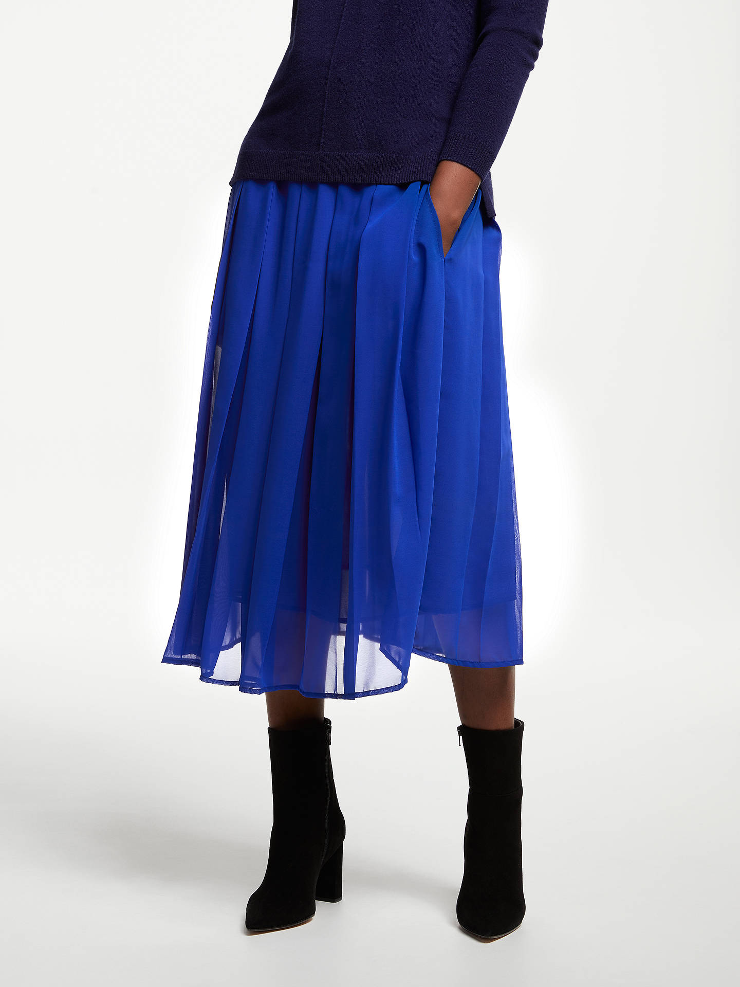 2a10f0f33f Buy John Lewis & Partners Box Pleat Pull On Skirt, Cobalt Blue, 8 Online ...