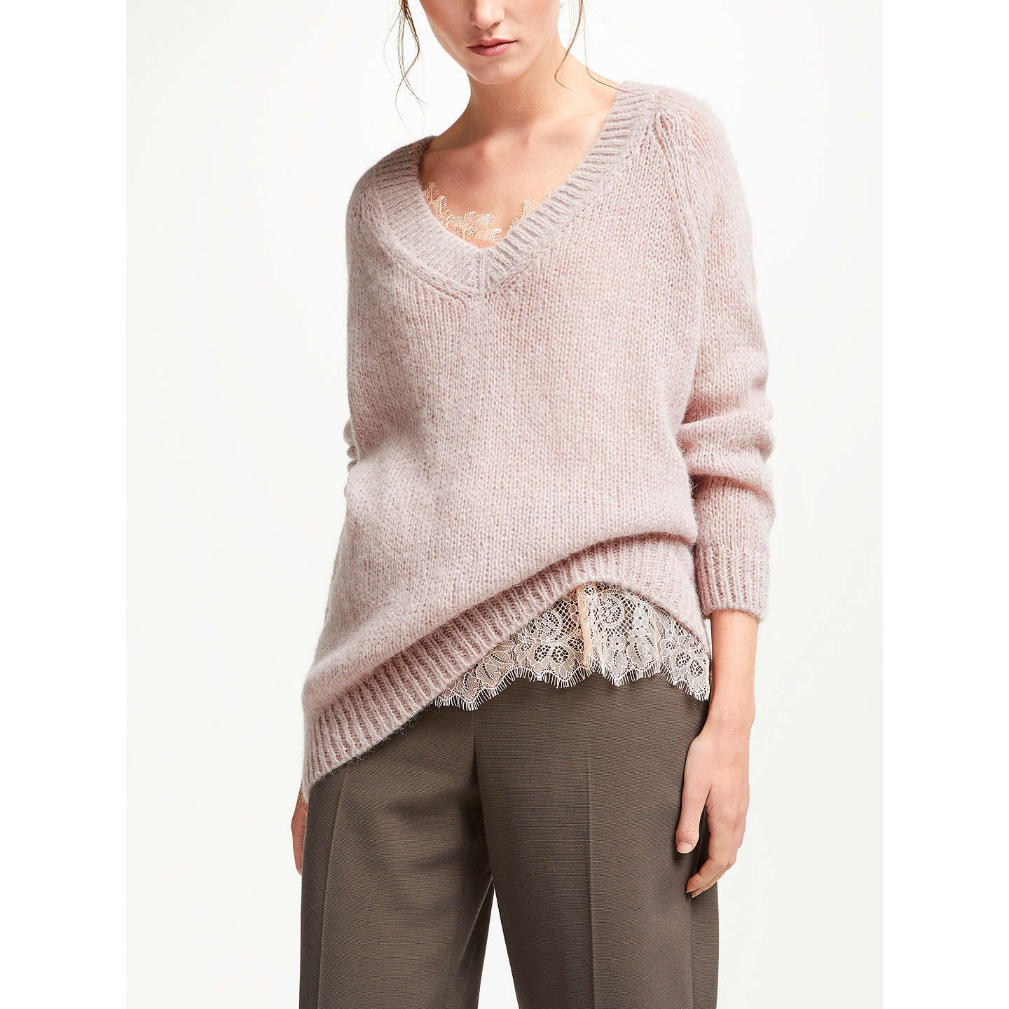 BuyModern Rarity Chunky V-Neck Jumper, Pink, XS Online at johnlewis.com