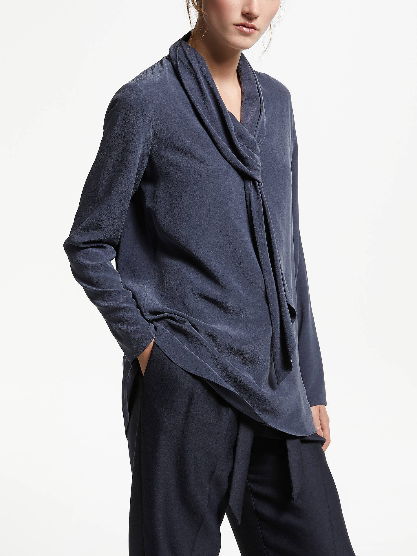 BuyModern Rarity Tie Neck Silk Blouse, Blue Steel, 8 Online at johnlewis.com