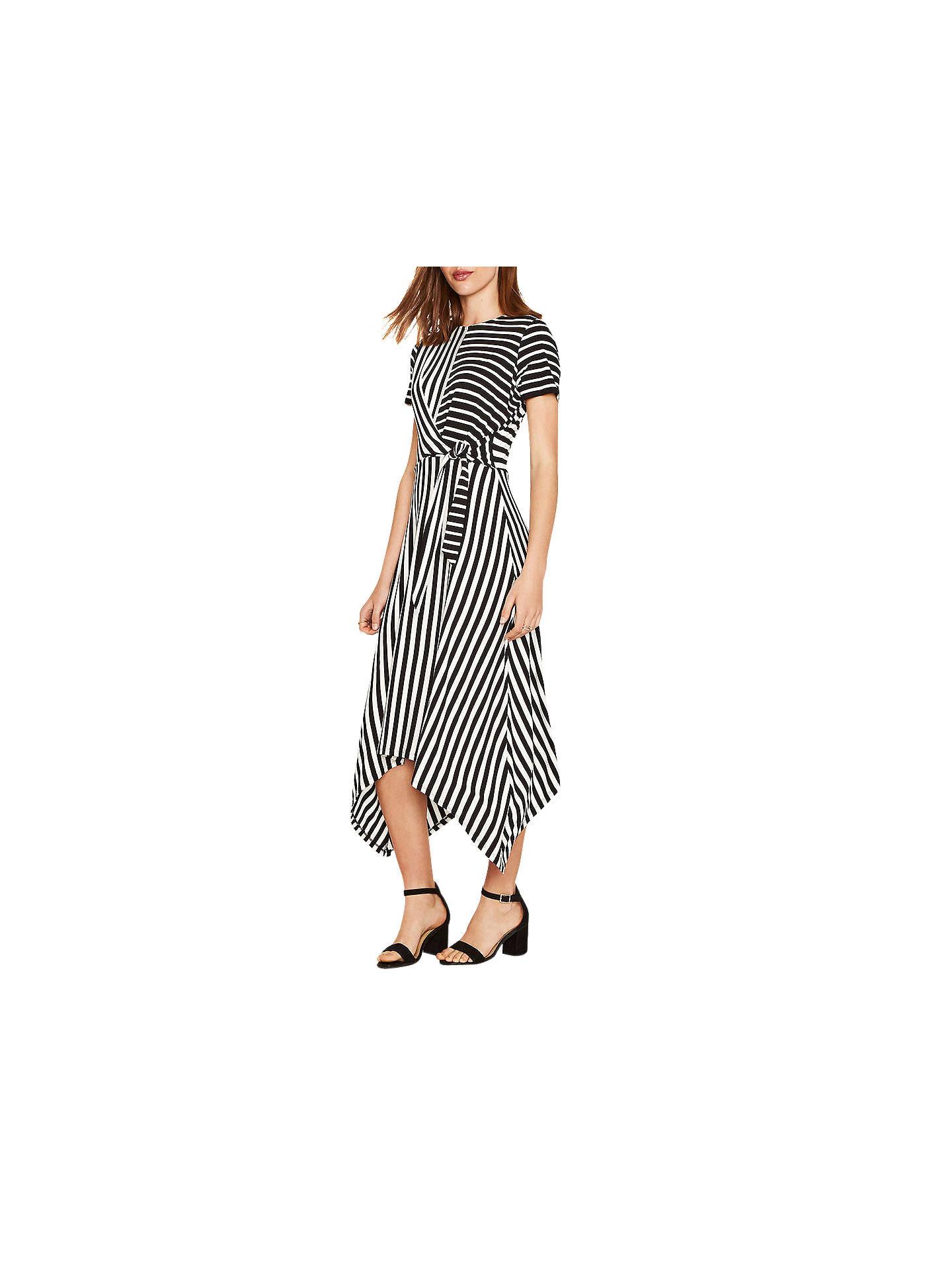 718cee37a495 Buy Oasis Asymmetric Striped Dress, Black/White, XS Online at johnlewis.com  ...