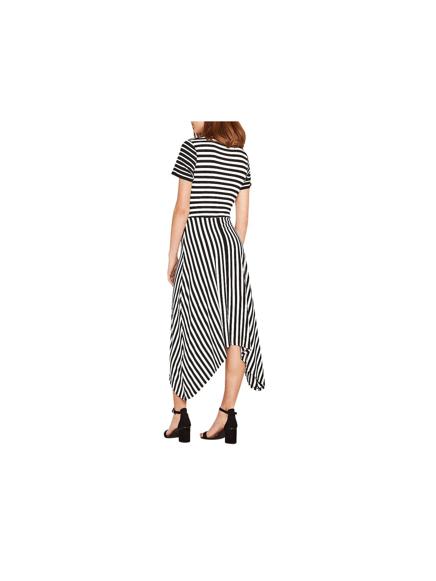 fe54865ab89b ... Buy Oasis Asymmetric Striped Dress, Black/White, XS Online at  johnlewis.com ...