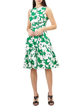 Hobbs Evie Dress, Grass Green/White