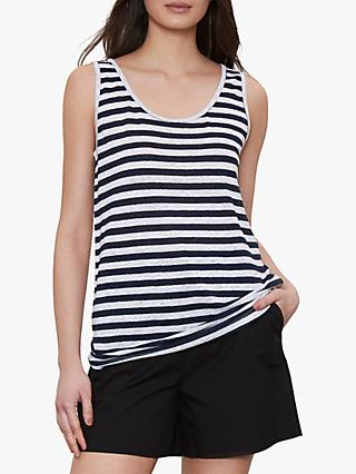 Winser London Pure Linen Striped Vest, Navy