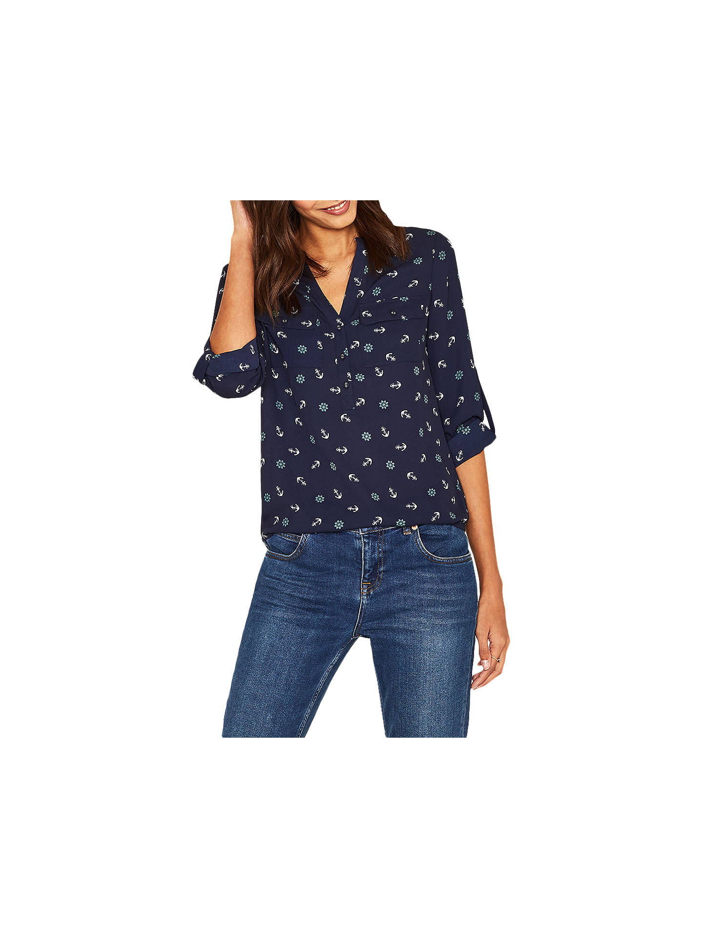 30de2f4b8dfe Buy Oasis Anchor Print Shirt, Blue/Multi, 6 Online at johnlewis.com ...