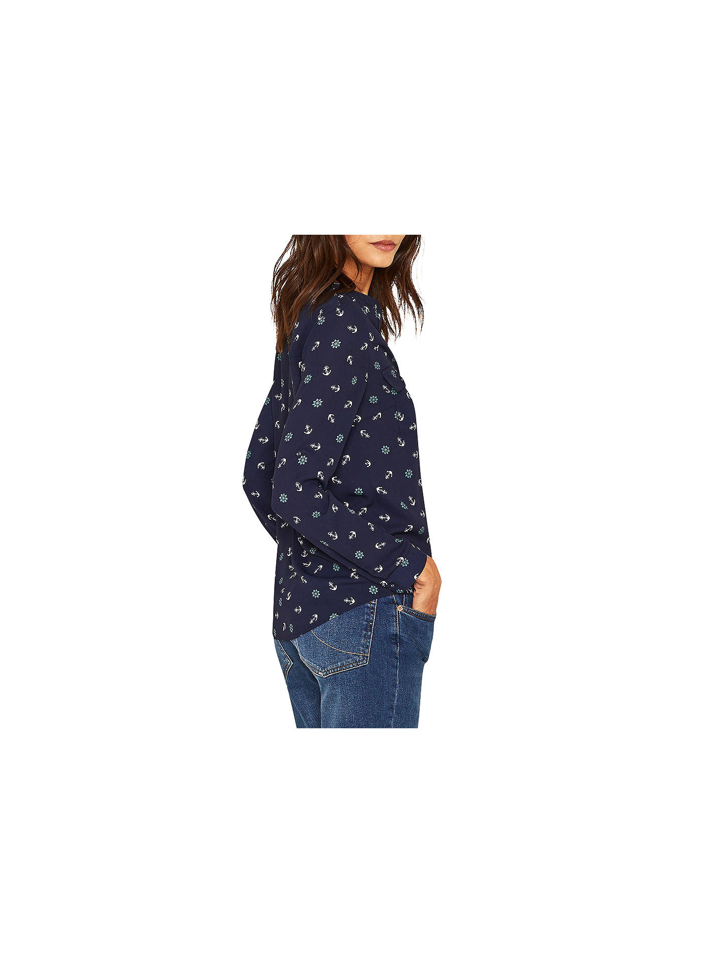 aedf3150582f ... Buy Oasis Anchor Print Shirt, Blue/Multi, 6 Online at johnlewis.com ...