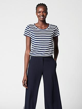 Winser London Pure Linen Striped T-Shirt, Navy